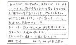 北名古屋市70代男性膝痛の口コミ